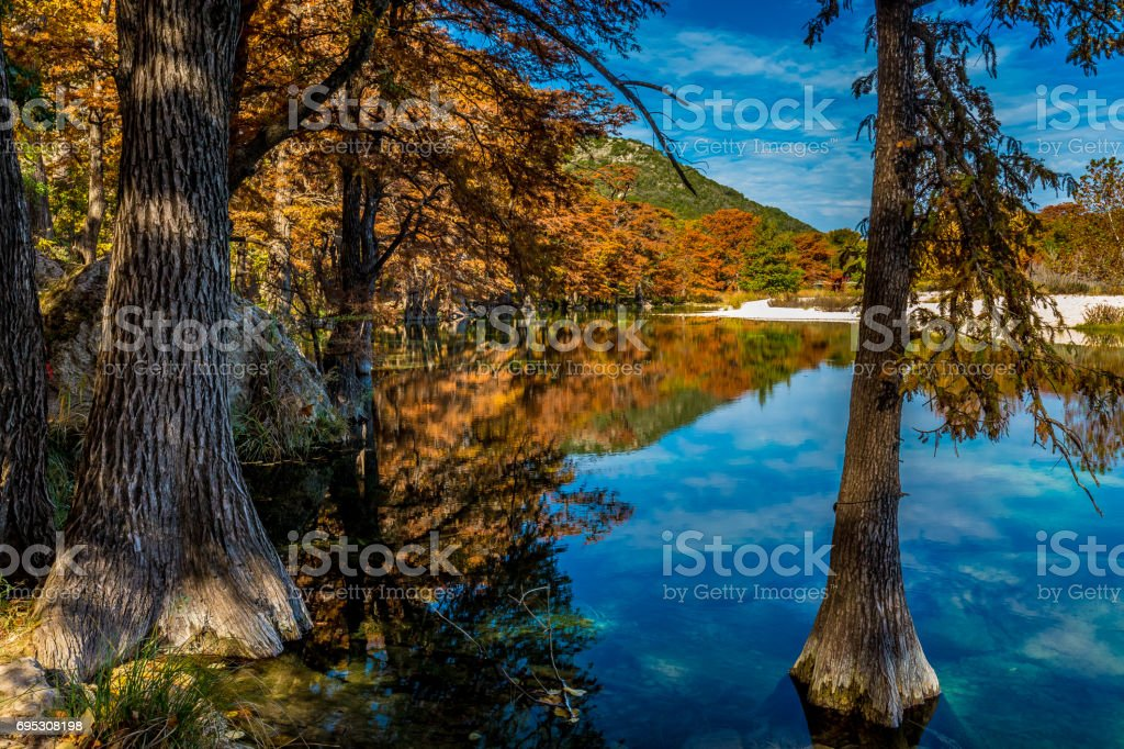 Beautiful Reflections at Garner State Park, Texas stock photo