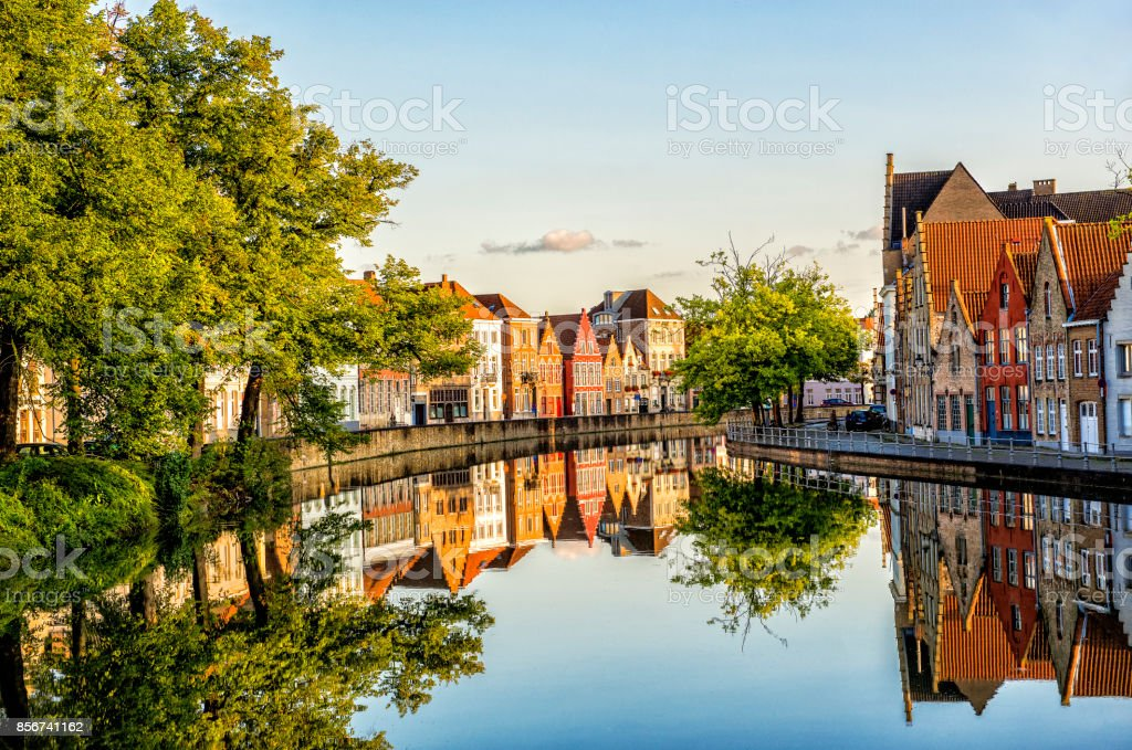 Beautiful Reflections in Canal - European Travel Destination stock photo