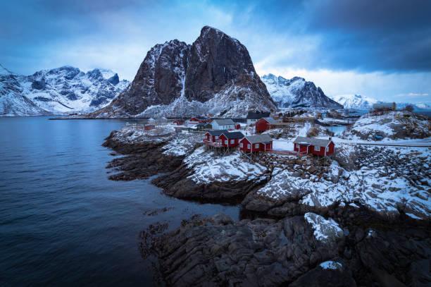 Beautiful Reine in Norway stock photo
