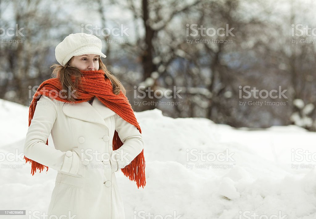 beautiful relax girl freedom think portrait winter outdoor with royalty-free stock photo