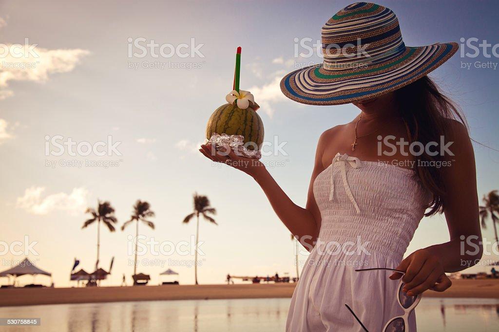 Beautiful relaxing woman stock photo