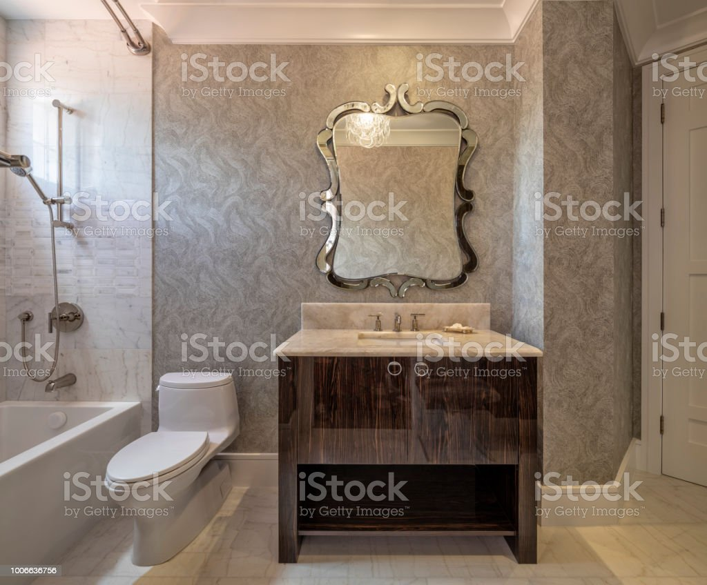 Beautiful remodeled guest bathroom in a condominium stock photo