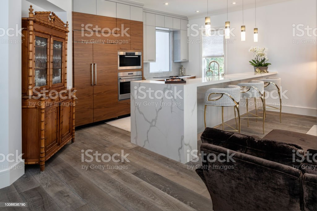 Beautiful remodeled kitchen in a condominium stock photo