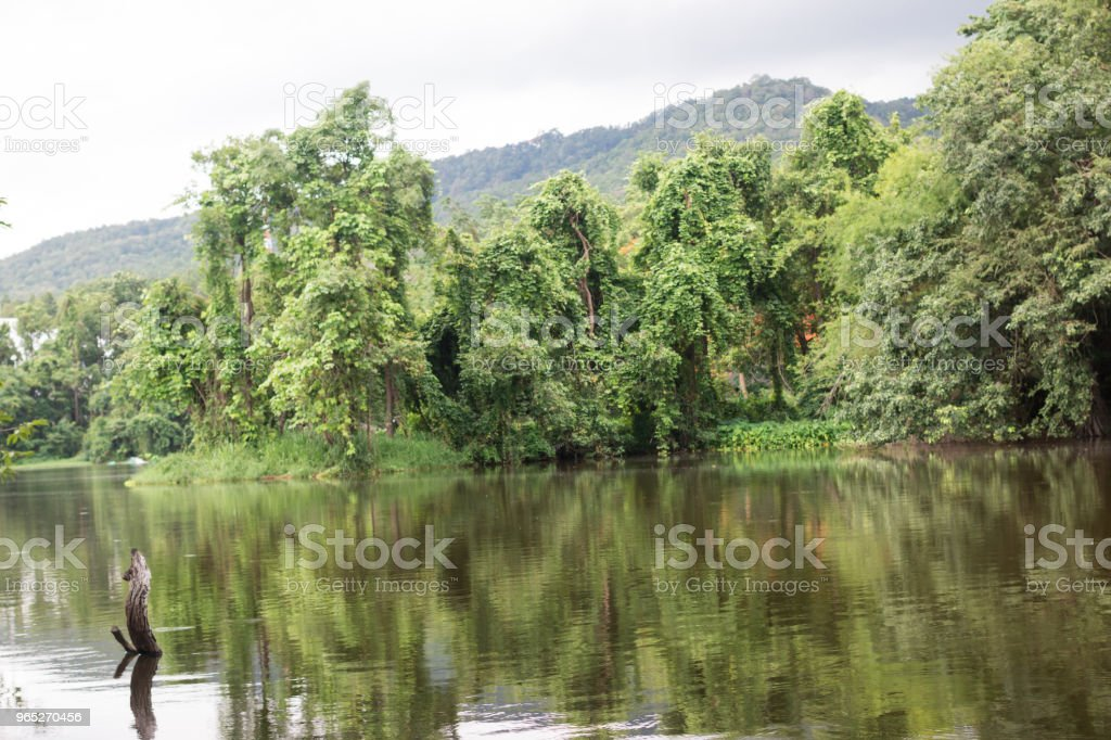 beautiful Reservoir with mountains royalty-free stock photo