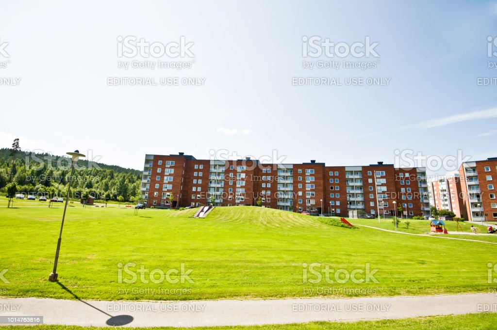 Beautiful Residential District Apartment Blocks In Nacksta Sundsvall City, Sweden stock photo
