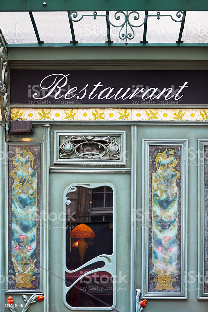 Beautiful Restaurant in Art Nouveau Style, Paris, Saint Germain, France stock photo