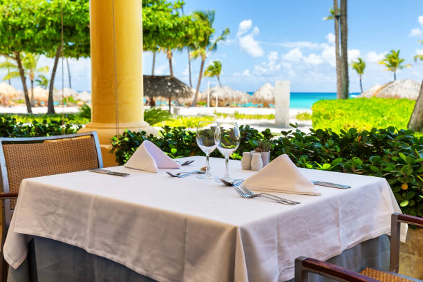 Beautiful restaurant on the beach stock photo