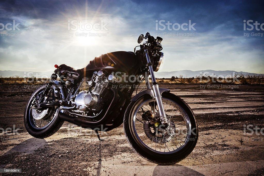 Beautiful Retro Cafe Racer Motorcycle stock photo