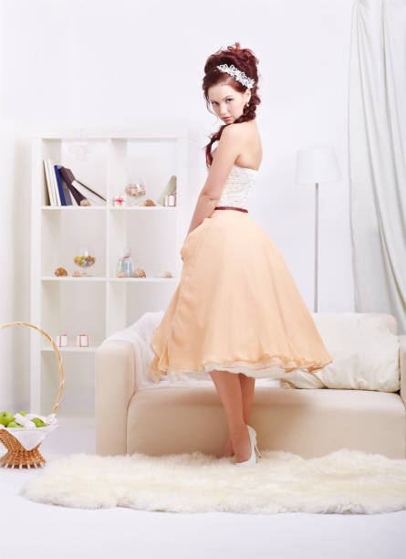 beautiful retro girl - petticoat stock pictures, royalty-free photos & images