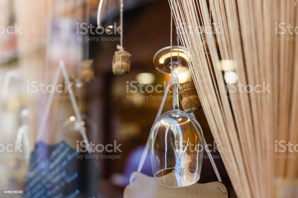 Beautiful retro luxury glasses and cork decor glowing stock photo