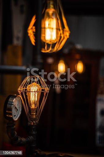 1137999886 istock photo Beautiful retro luxury interior lighting lamp decor antique shop house uk storage detail closeup sharp focus bokeh space for text advertising electricity 1204267745