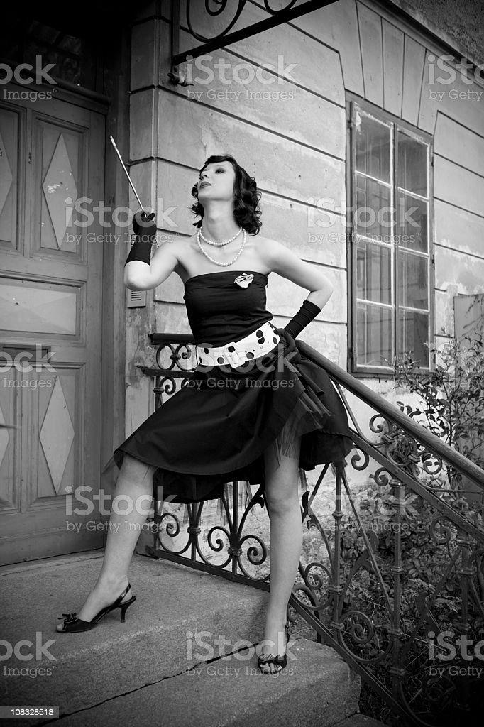Beautiful retro styled woman royalty-free stock photo