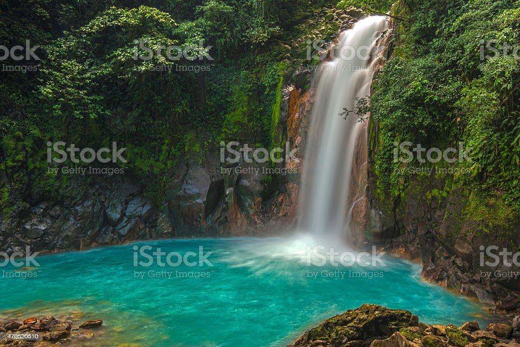 Beautiful Rio Celeste Waterfall stock photo