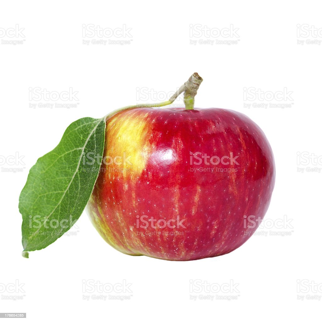 beautiful ripe apple with leaf royalty-free stock photo