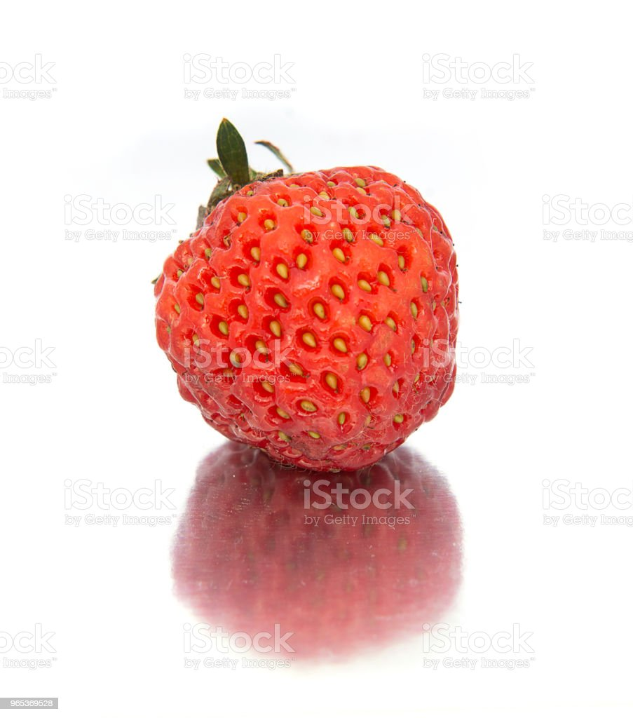 beautiful, ripe, large bright strawberry on the isolated background. Isolate Strawberry. zbiór zdjęć royalty-free