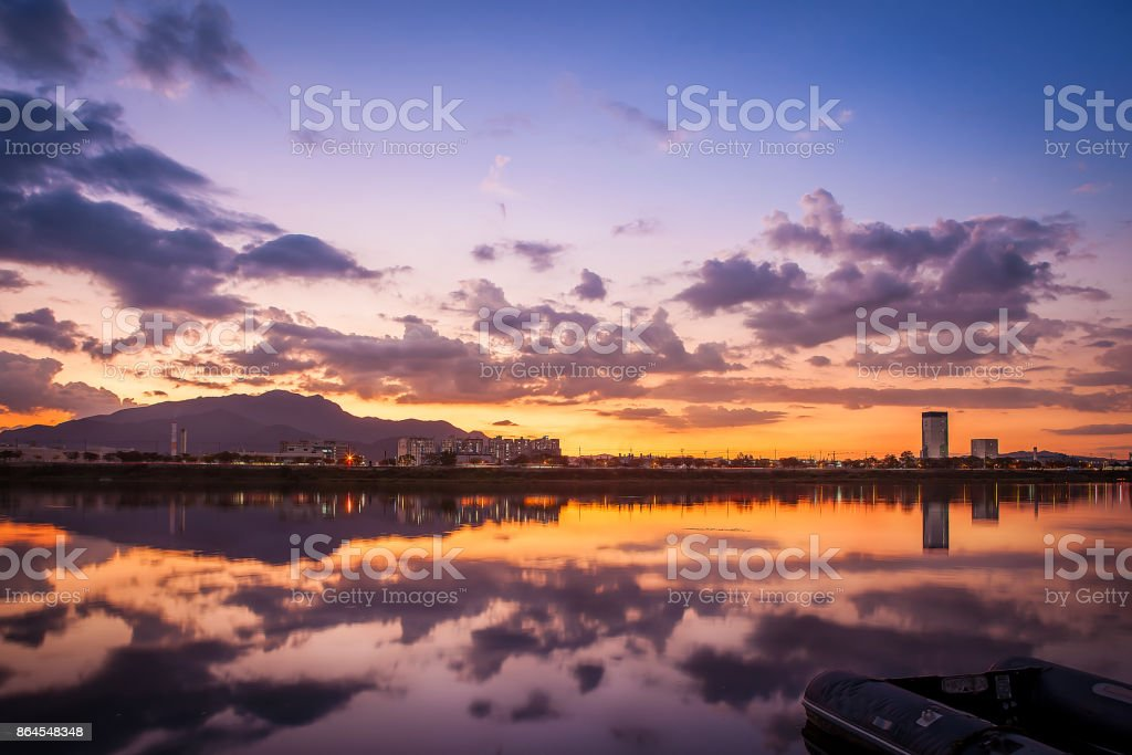 beautiful river and building scape of daegu city in south republic korea in sunset stock photo