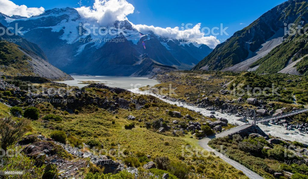 Beautiful river and mountain landscape in Mount Cook National Park royalty-free stock photo