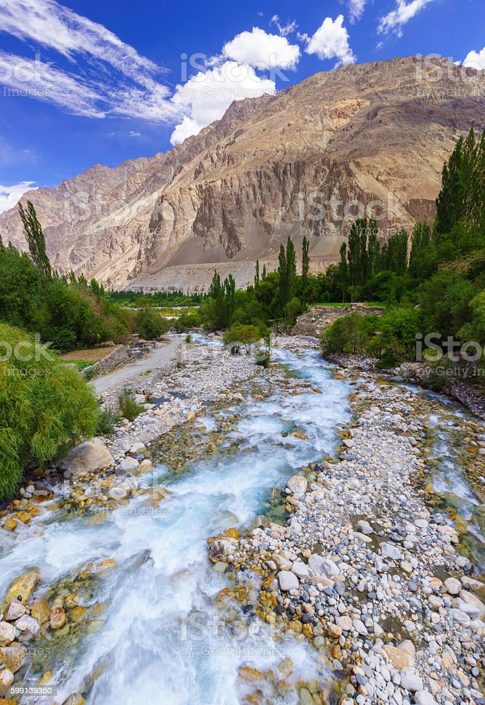 Beautiful river at Turtuk village, Diskit, Jammu and Kashmir, In stock photo