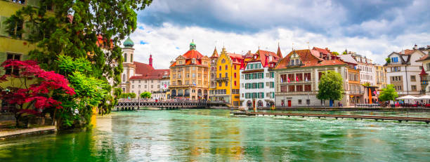 beautiful river cityscape of lucerne, switzerland - lucerne stock pictures, royalty-free photos & images