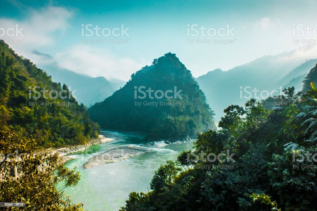Beautiful river in Nepal stock photo