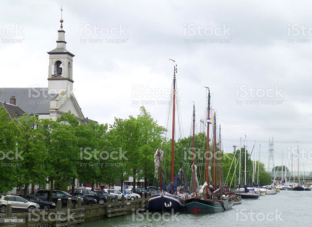 Beautiful river marina at the town of Muiden, Netherlands stock photo