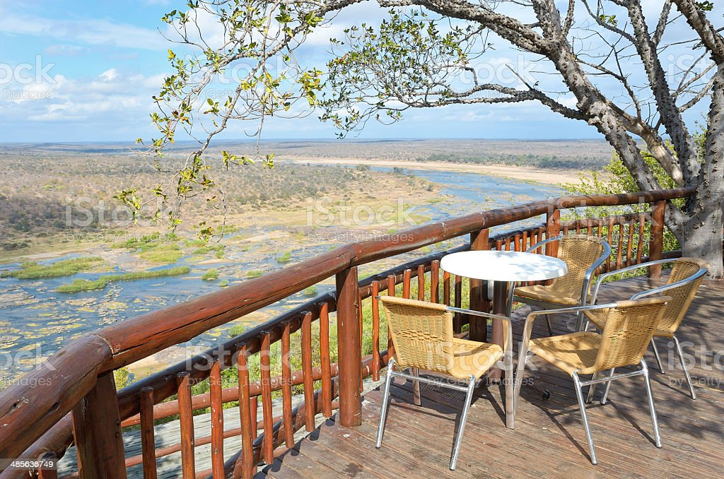 Beautiful river view from camping restaurant stock photo