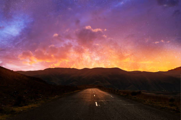 Beautiful road and sunset sky with clouds. Beautiful road and sunset sky with clouds. armenia country stock pictures, royalty-free photos & images
