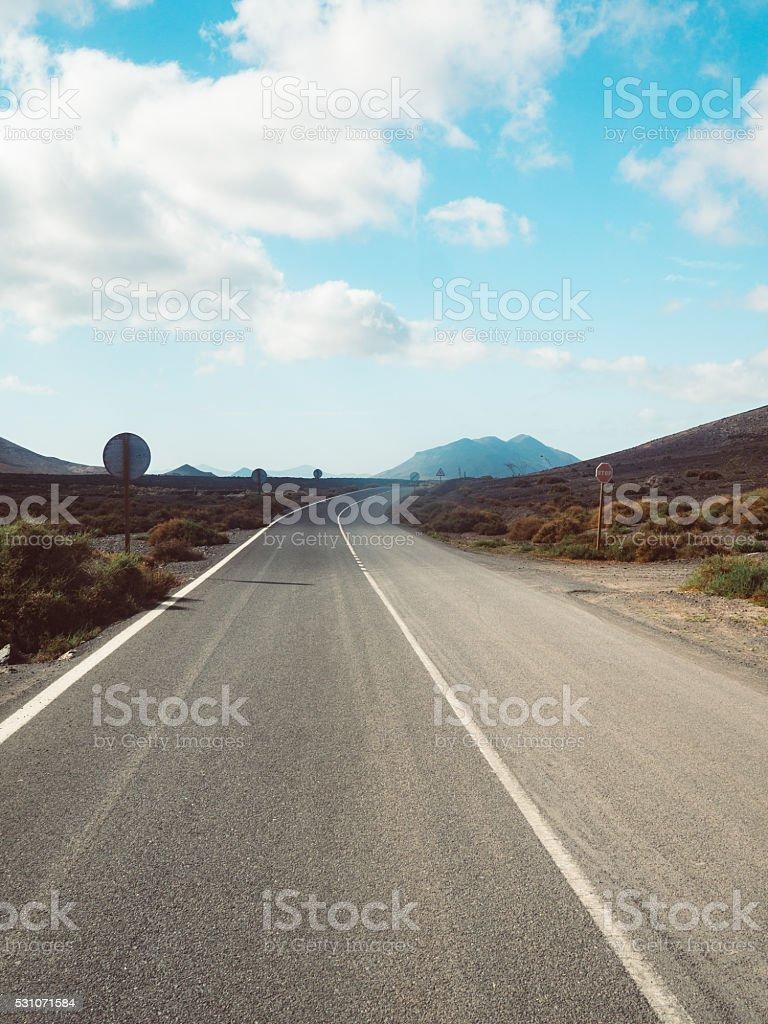 Beautiful road of fuerteventura stock photo