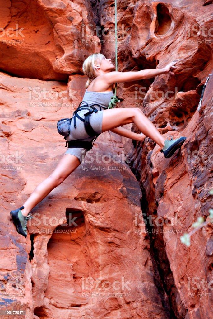Beautiful Rock Climbing Woman royalty-free stock photo