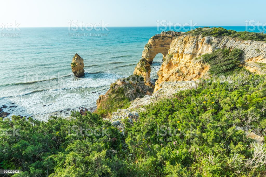Beautiful rock formation at Algarve coast in Portugal stock photo