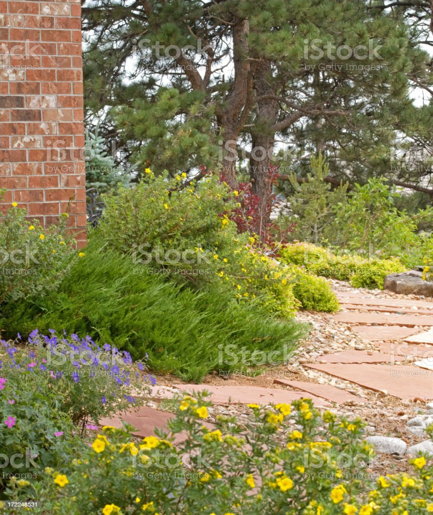 Beautiful Rock Garden Xeriscape royalty-free stock photo