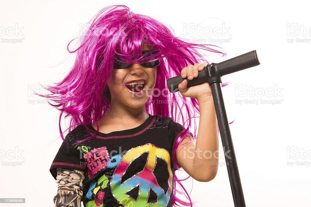 Beautiful Rock Star Girl Singing royalty-free stock photo