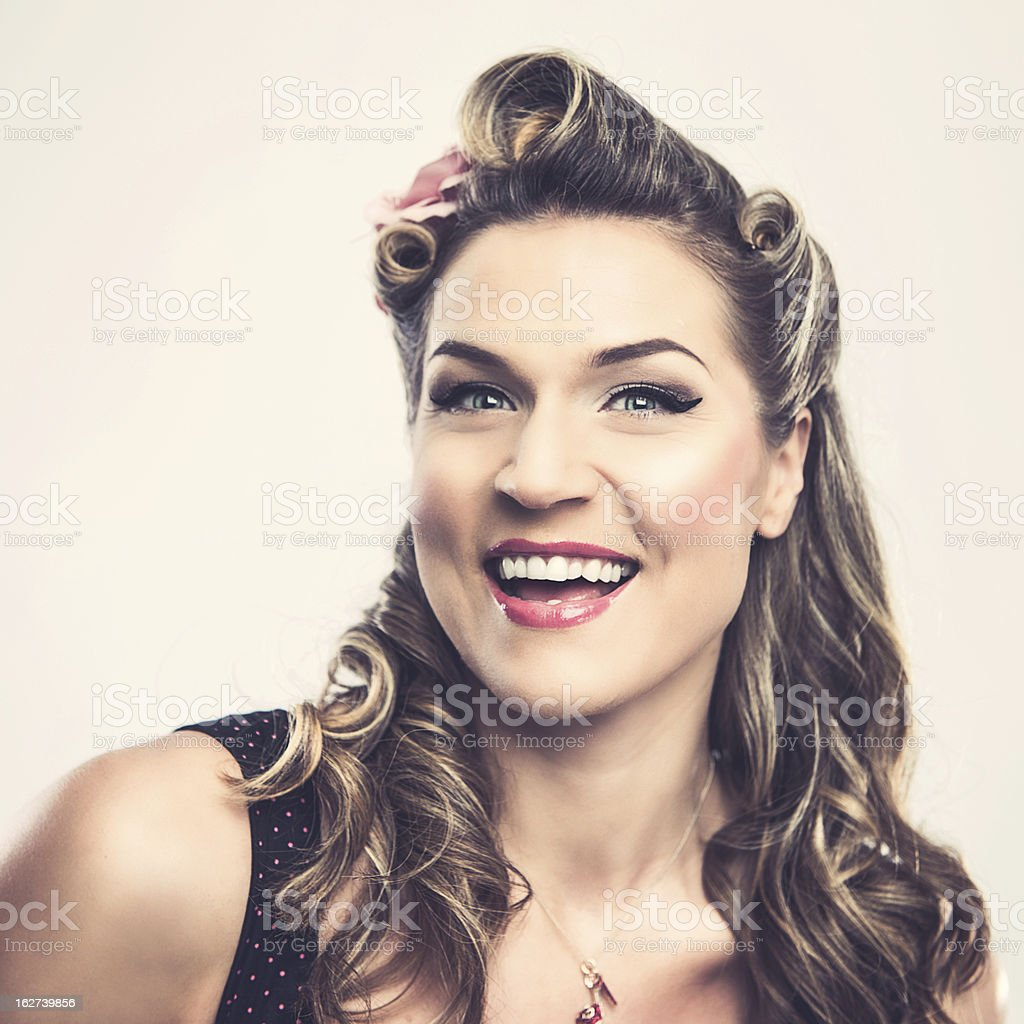 Beautiful rockabilly woman stock photo