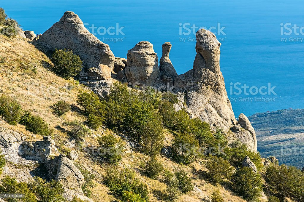 Beautiful rocks in the Valley of Ghosts, Demerdzhi mountain foto stock royalty-free