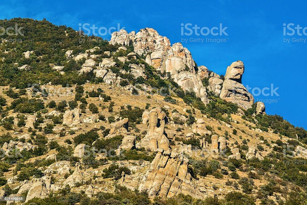 Beautiful rocks in the Valley of Ghosts, Demerdzhi mountain photo libre de droits