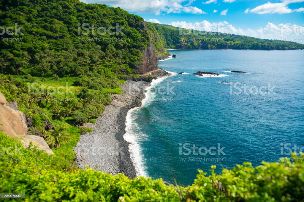 Beautiful rocky beach on the island of Maui, Hawaii stock photo