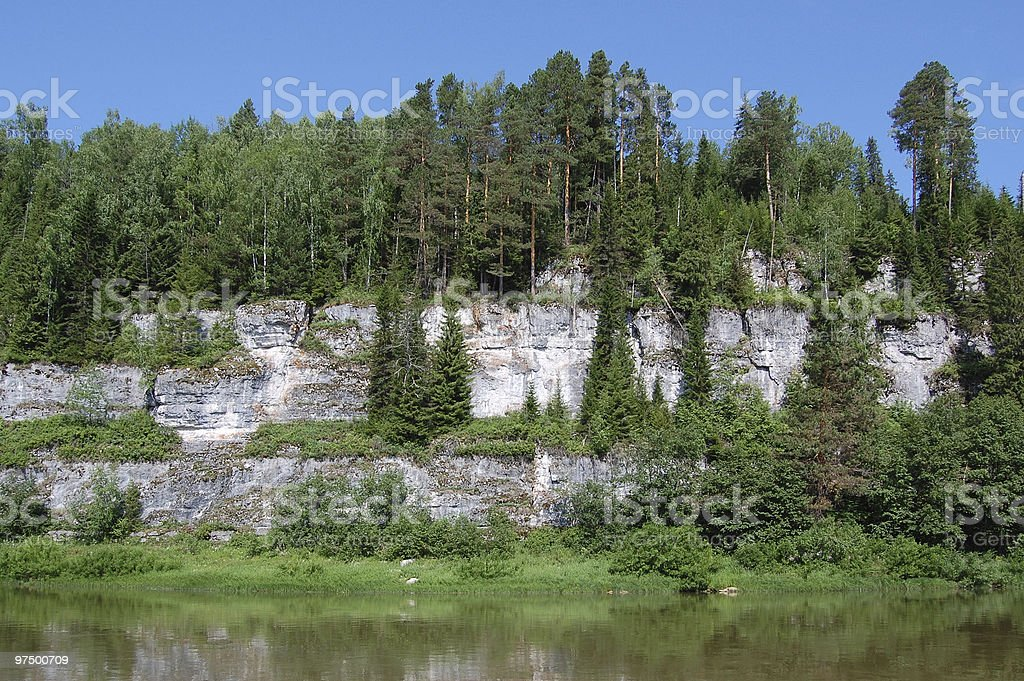 Beautiful rocky coast on the river. Perm royalty-free stock photo