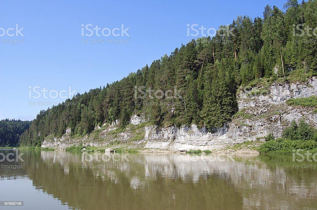 Beautiful rocky coast on the river. Perm royalty-free stock photo