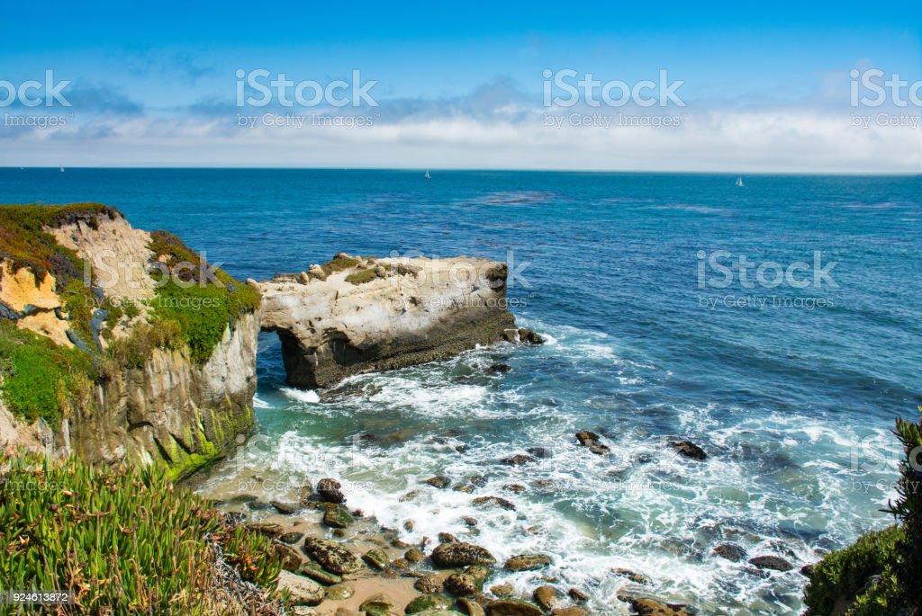 Beautiful rocky coast, Pacific ocean. stock photo