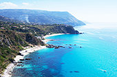 Beautiful rocky coastline and turquoise Tyrrhenian Sea near Capo Vaticano,Calabria,Italy
