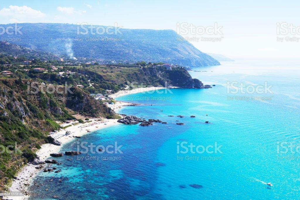 Beautiful rocky coastline and turquoise Tyrrhenian Sea near Capo Vaticano,Calabria,Italy stock photo