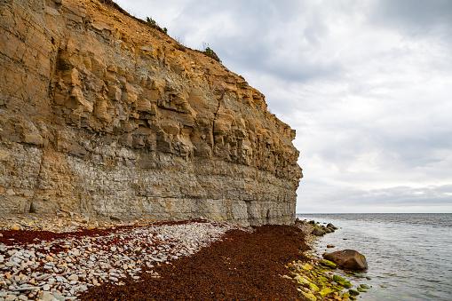 Beautiful rocky sea shore. Baltic limestone cliff.