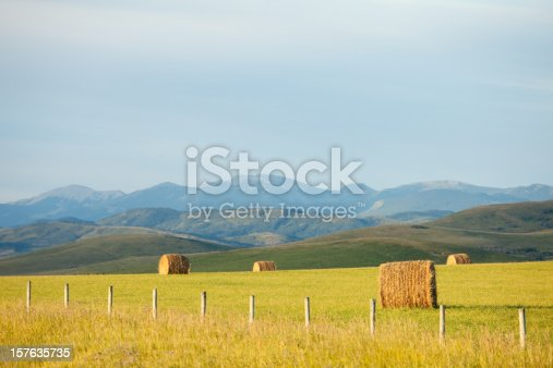 a rural scenic with hay bales and rockies in alberta, Canada. Image location is near Calgary, Alberta. The western province of Alberta is known for its natural beauty. The eastern part of the province is relatively flat and agriculture is a major industry. In the west the rolling ranchland and Rocky Mountains provide the landscapes the province is famous for.