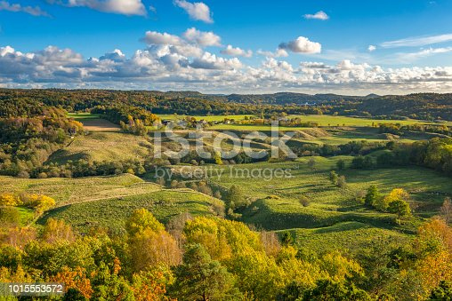 Scenic rolling landscape at the Swedish countryside