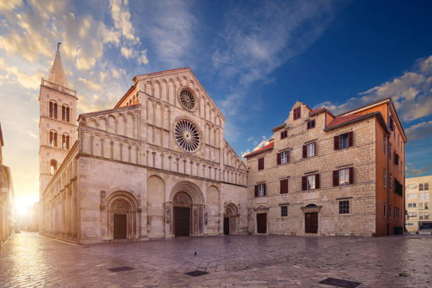 Beautiful Romanesque cathedral of St. Anastasia, Zadar, Croatia Saint Anastasia Cathedral, (Katedrala Sv. Stosije), Zadar, Croatia romanesque stock pictures, royalty-free photos & images