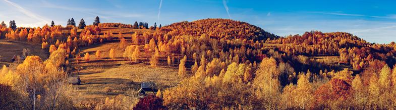 beautiful autumn landscapes panorama in the Romanian mountains, Fantanele village area, Sibiu county, Cindrel mountains, Romania