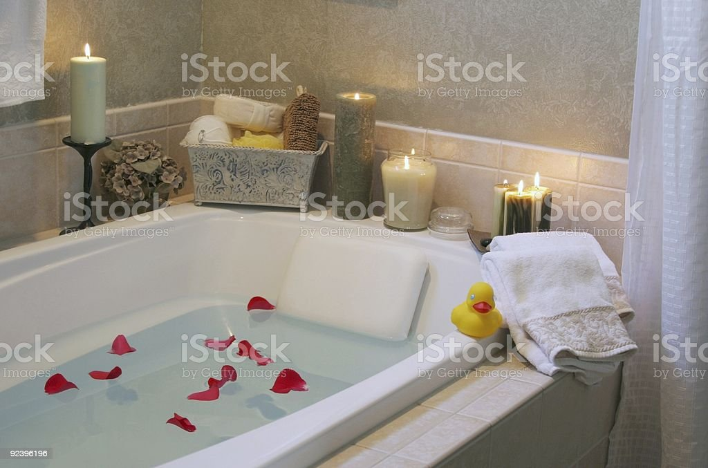 Beautiful, romantic bath with candles stock photo