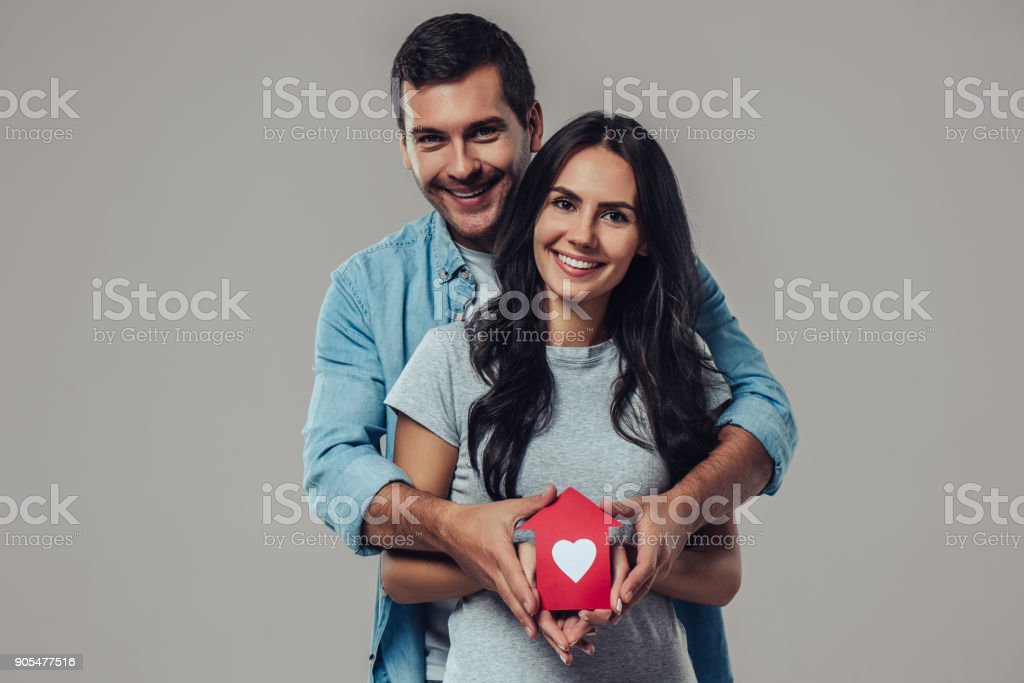 Beautiful romantic couple isolated. stock photo