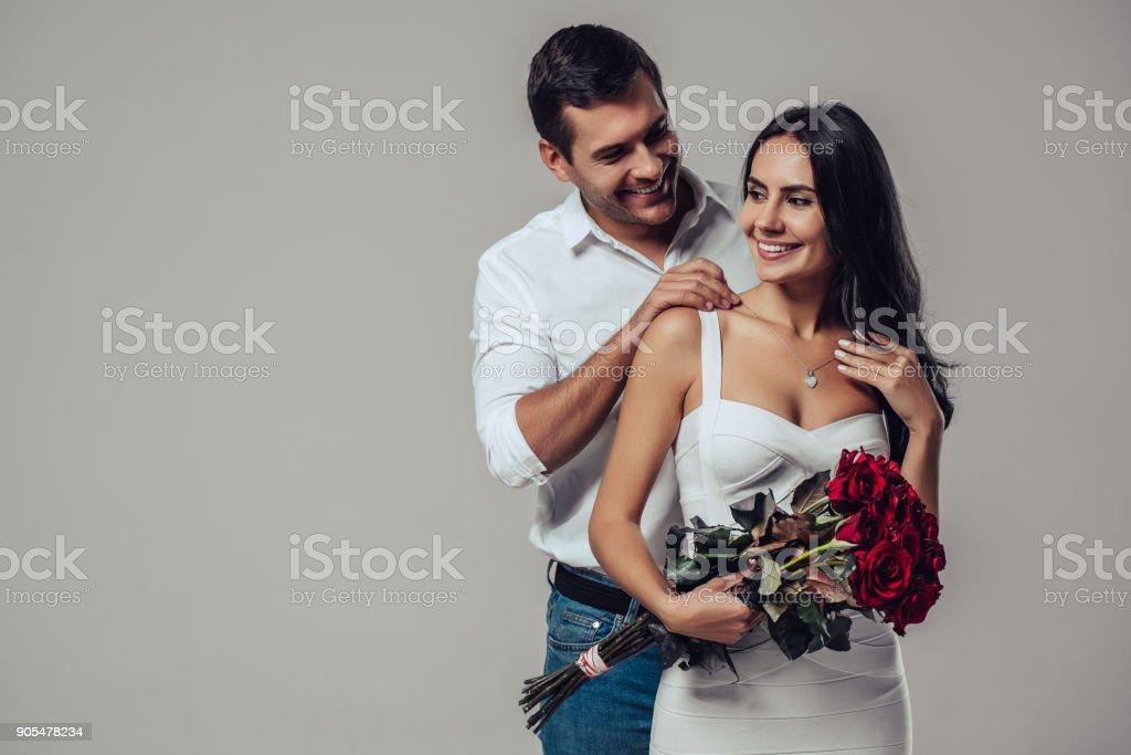 Beautiful romantic couple isolated stock photo