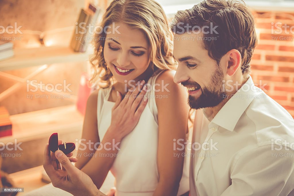 Beautiful romantic couple stock photo